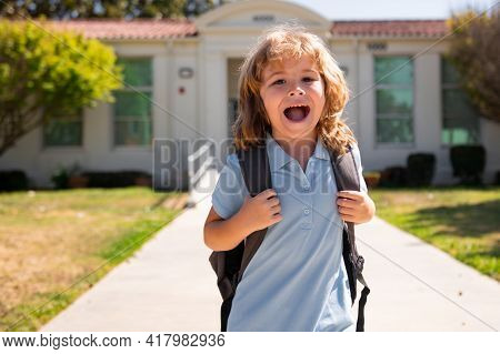 Amazed Schoolchild Running At End Of Class. School Vocation.