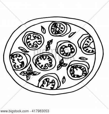 Vector Pizza Hand-drawn Illustration. Logo. A Picture For A Pizzeria. Drawing For Printing T-shirts.