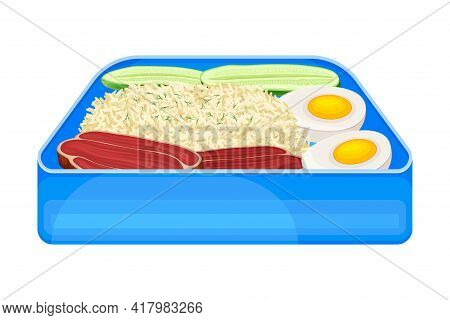 Bento Box As Japanese Single-portion Take-out Or Home-packed Meal Vector Illustration