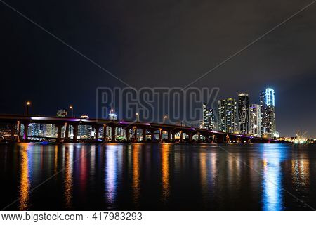 Miami Night Downtown, City Florida. Miami Florida, Sunset Panorama With Colorful Illuminated Busines