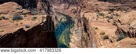 Panoramic Of Canyon. Horseshoe Bend On Colorado River In Glen Canyon. Travel Adventure Outdoor Conce