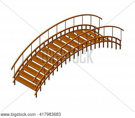 Curved Arch Wooden Bridge With Balustrade Railing Vector Illustration