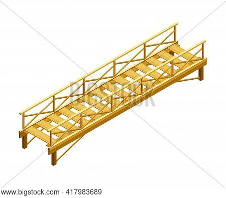 Straight Wooden Bridge With Balustrade Railing Vector Illustration