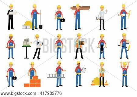 Constructor Or Builder In Yellow Hard Hat Holding Shovel And Carrying Construction Material Vector I