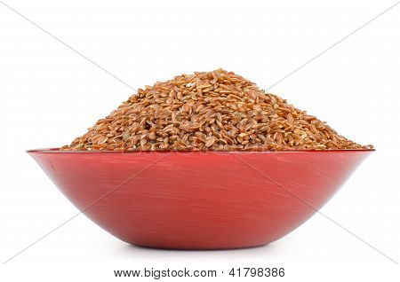 Red Rice In A Bowl , Isolated On White