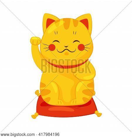 Gold Maneki-neko Cat With Raised Right Paw As Ceramic Japanese Figurine Bringing Good Luck Vector Il