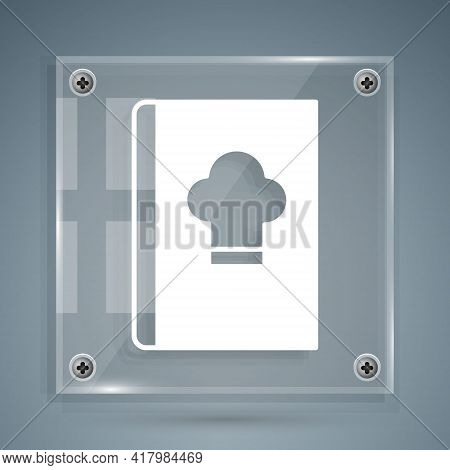 White Cookbook Icon Isolated On Grey Background. Cooking Book Icon. Recipe Book. Fork And Knife Icon