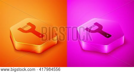 Isometric Vegetable Peeler Icon Isolated On Orange And Pink Background. Knife For Cleaning Of Vegeta