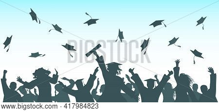 Graduation. Cheerful Graduate Students Throwing Academic Caps, Silhouette. Crowd Of People. Vector I