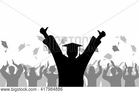 Cheerful Boy Graduate On Background Of Joyful Crowd Of Students People Throwing Mortarboards Or Acad