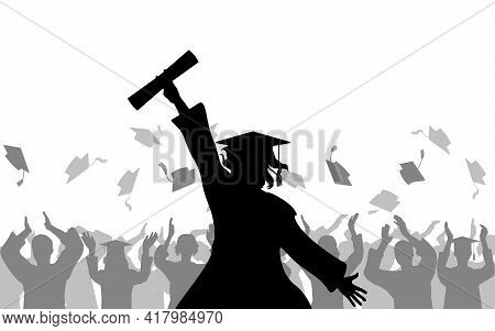 Cheerful Girl Graduates With Diploma On Background Of Joyful Crowd Of People Throwing Mortarboards O
