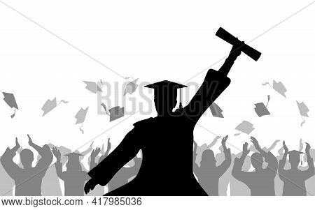 Cheerful Boy Graduates With Diploma On Background Of Joyful Crowd Of People Throwing Mortarboards Or