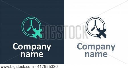 Logotype Clock With Airplane Icon Isolated On White Background. Designation Of Time Before Departure