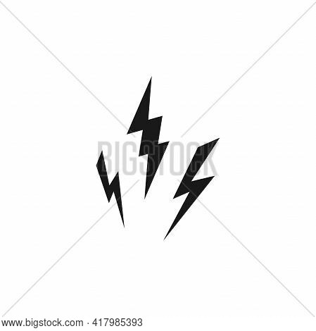 Three Black Lightning Bolts. Storm Or Thunder Icon. Lightning Strike Sign Isolated On White. High El