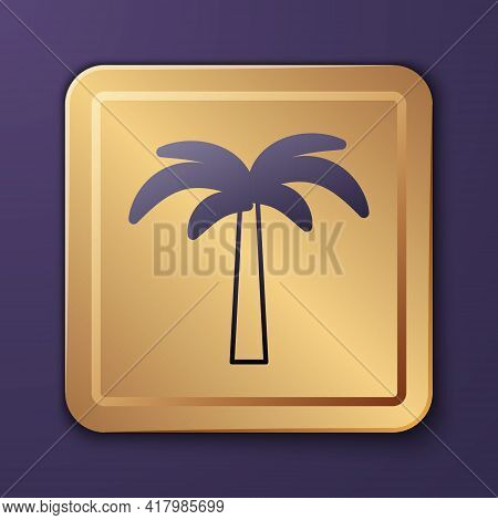 Purple Tropical Palm Tree Icon Isolated On Purple Background. Coconut Palm Tree. Gold Square Button.
