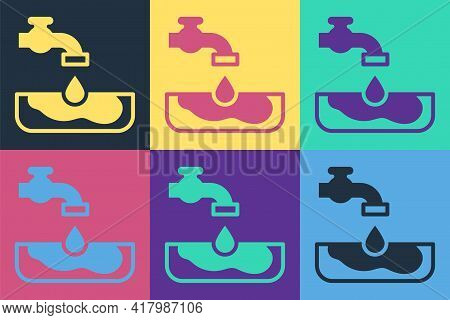 Pop Art Water Problem Icon Isolated On Color Background. Poor Countries Environmental Public Health