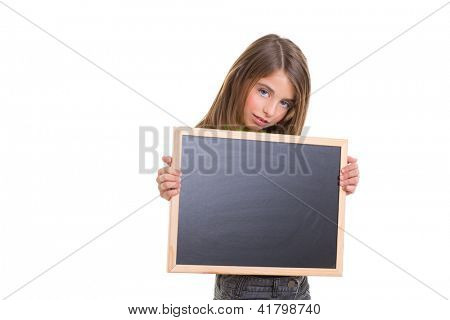 child girl with blank frame copy space holding black blackboard