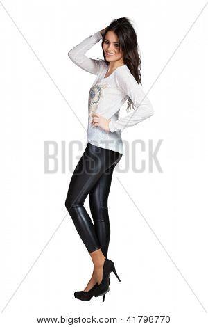 Elegant glamour woman wearing white blouse and leggins