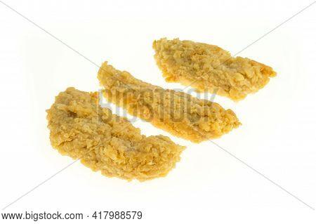Breaded Chicken Sirloin On A White Background - Packshot