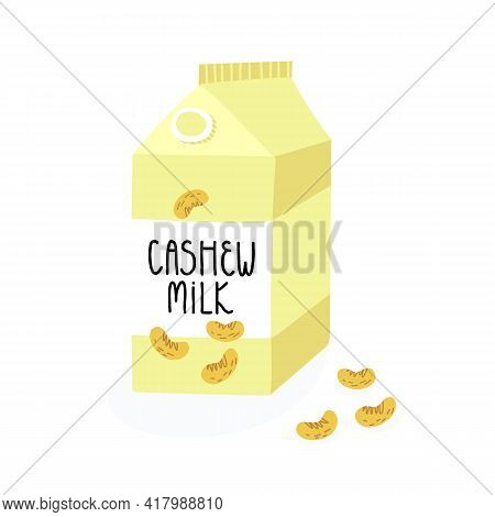 Cute hand-drawn vegan lactose free cashew milk in a carton box packaging with lettering. Vector cartoon style isolated illustration.