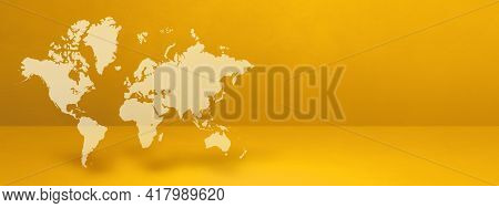 World Map Isolated On Yellow Wall Background. 3d Illustration. Horizontal Banner