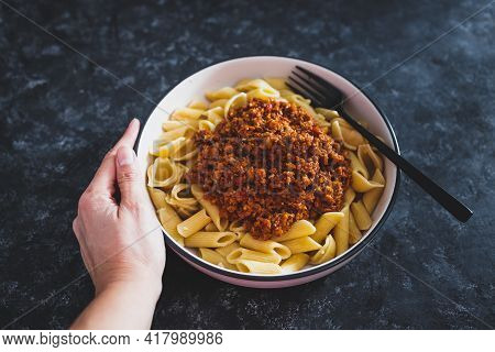 Vegan Bolognaise Penne And Shells Pasta With Plant-based Mince Sauce, Healthy Plant-based Food