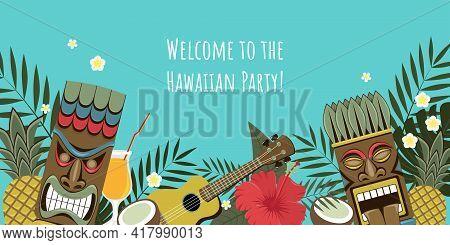 Hawaiian Party Invitation. Vector Image Of Hawaiian Tiki Statues, Palm Leaves, Flowers, Pineapple, C