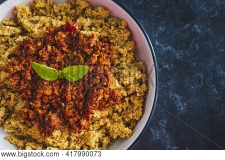 Vegan Bolognaise Couscous With Plant-based Mince Sauce, Healthy Plant-based Food Recipes