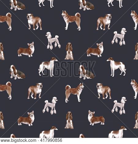 Beautiful Seamless Pattern With Cute Watercolor Hand Drawn Dog Breeds Cocker Spaniel Greyhound Basse