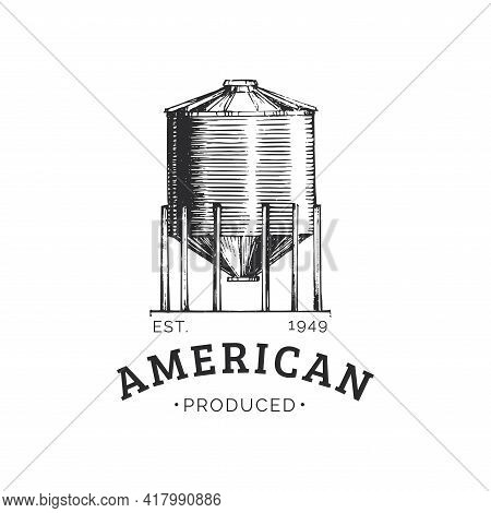 Farm Hopper Logo With American Produced Lettering.