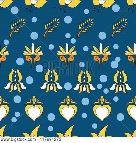 Vector Dark Blue Background Brittany Celtic, Breton Trational Folklore Symbols Seamless Pattern. Sea