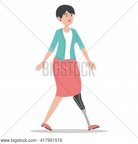 Happy Young Man With The Prosthetic Leg