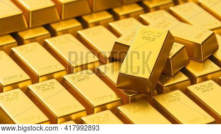 3D Rendering, Close Up Of A Lot Of Shiny Gold Bars Stacked In Storage, Concept Of Wealth
