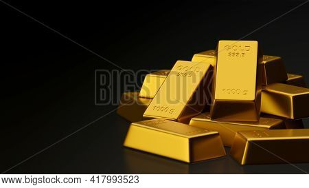 3D Rendering Shiny Gold Bars Stacked In Black Background With Copy Space