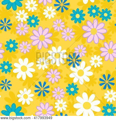 Cute Abstract Seamless Pattern With Big Yellow,white Chamomile Flowers, Blue Cornflower On The Yello