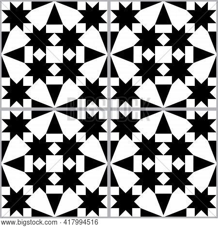 Moroccan And Turkish Geoemetic Tile Seamless Vector Pattern, Black And White Textile Design With Sta