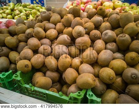 Sale Of Delicious Kiwi Fruits In The Hypermarket