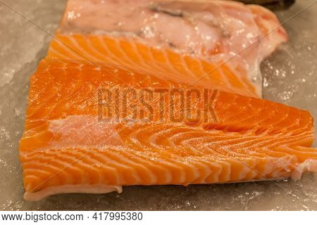 Prepared Piece Of Delicious Fresh Salmon Gourmet Fish Fillet. Traditional Healthy Sea Food From Seaf