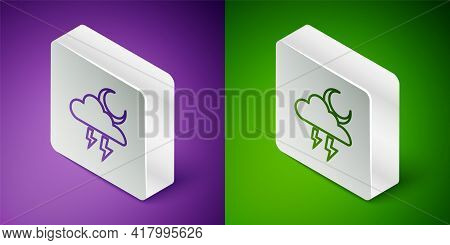 Isometric Line Storm Icon Isolated On Purple And Green Background. Cloud With Lightning And Moon Sig