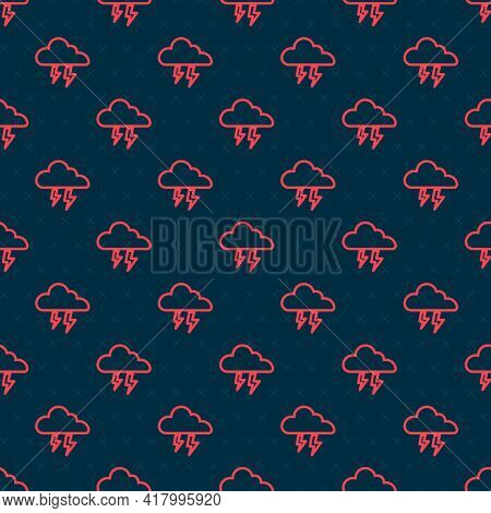 Red Line Storm Icon Isolated Seamless Pattern On Black Background. Cloud And Lightning Sign. Weather