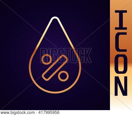 Gold Line Water Drop Percentage Icon Isolated On Black Background. Humidity Analysis. Vector