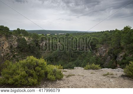 Karstic Landscape In The Natural Monument Of Cañada Del Hoyo Lagoons, Province Of Cuenca, Spain