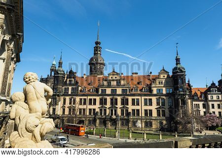 April 1, 2019.dresden, Saxon Switzerland, Germany: A Street In The Center Of The City And The Old Bu