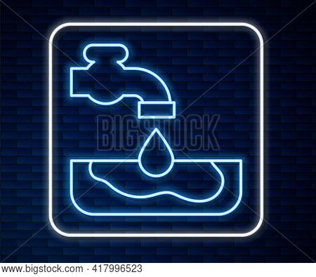 Glowing Neon Line Water Problem Icon Isolated On Brick Wall Background. Poor Countries Environmental