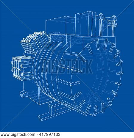 Air Conditioning Compressor. Vector Rendering Of 3d. Wire-frame Style