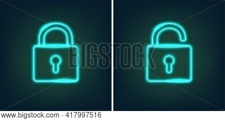 Locked And Unlocked Padlock Icons In Shiny Neon Graphic Style - Vector Illustration