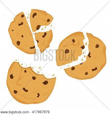 Set Of Cookies With Chocolate Crisps Bitten, Broken, Cookie Crumbs In Cartoon Flat Style Isolated On