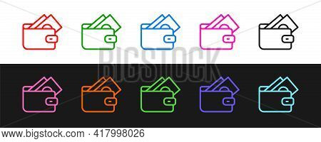 Set Line Wallet With Stacks Paper Money Cash Icon Isolated On Black And White Background. Purse Icon