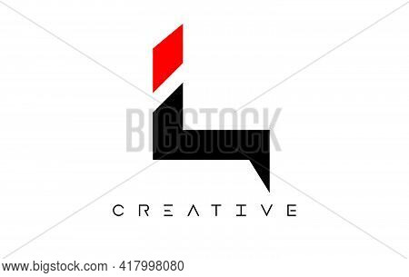 L Modern Letter Logo Design With Creative Look In Black And Red Colors Vector Illustration
