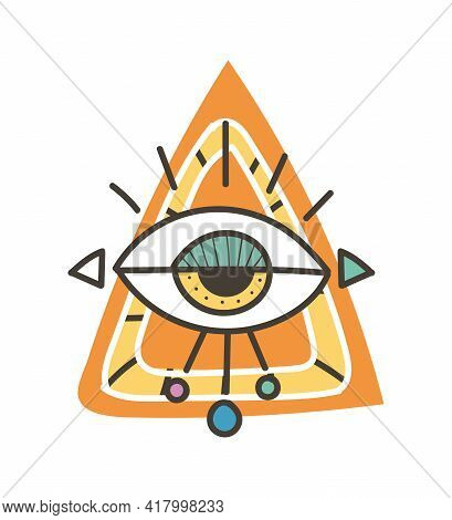 Eye Talisman As An Occultism And Prophecy Sacred Symbol. Eye Of Providence, Mysterious Talisman. Con